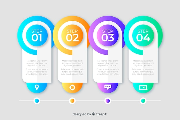 Zakelijke stappen infographic sjabloon