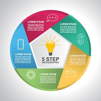 Zakelijke stappen moderne sluiter cyclus infographic sjabloon