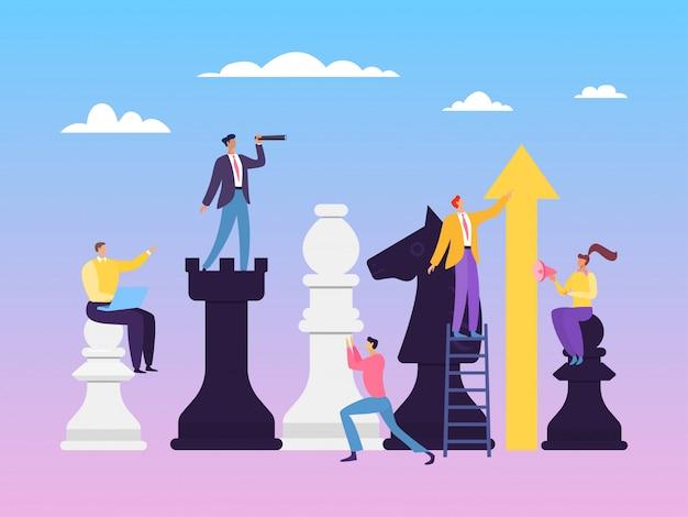 Zakelijke strategie schaken concept illustratie. de mogelijkheid om in team te werken hangt af van duidelijke en competente distributierollen.