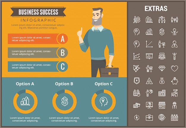 Zakelijke succes infographic sjabloon en elementen