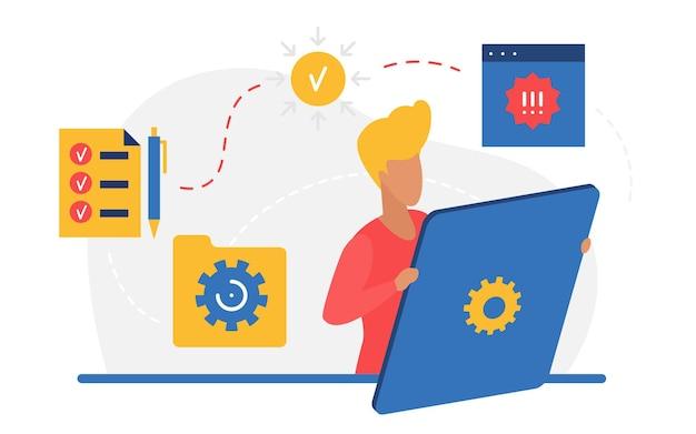 Zakelijke succesvolle planning werkorganisatie en management man met grote tablet