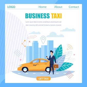 Zakelijke taxi-banner en gele cabine moderne mobiele service