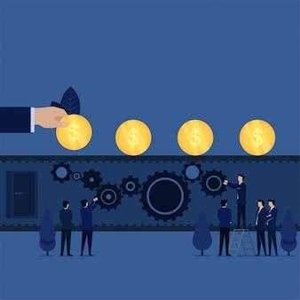 Zakelijke team opzetten versnellingen samen voor geld lopen boven het metafoor van teamwork.