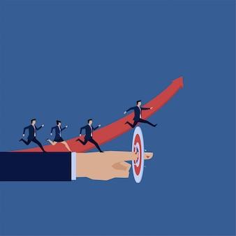 Zakelijke team springen over doel obstakel metafoor van over verwachting.