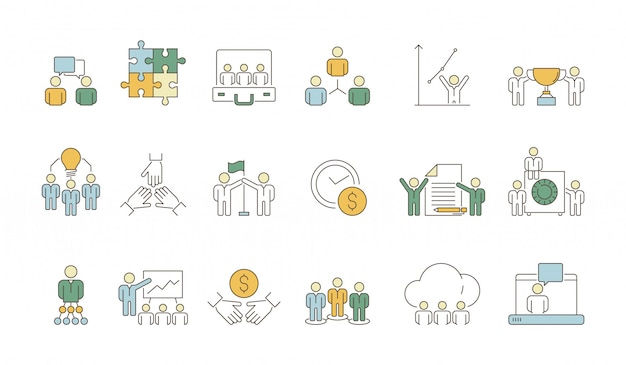 Zakelijke team symbolen. kantoorwerk van volkeren groepsorganisatie coworking leider menigte gekleurde dunne pictogrammen