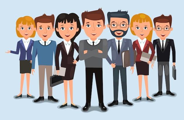 Zakelijke team van medewerkers en de baas