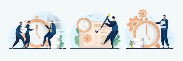 Zakelijke team werk management illustratie set
