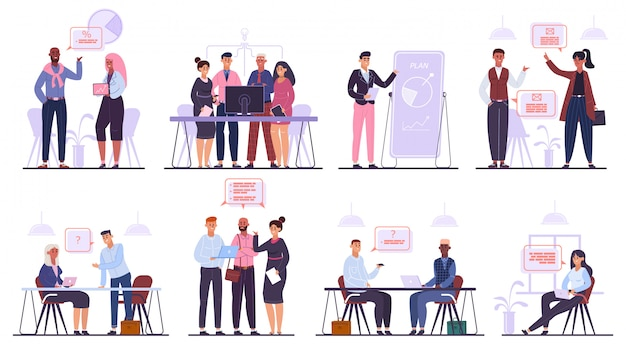 Zakelijke teampersonages. teamwerk zakelijke bijeenkomst en brainstormen, professionele kantoor mensen conferentie illustratie set. professioneel teamwerk, zakelijke bespreking van mensen