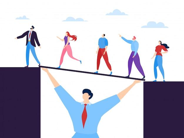 Zakelijke teamwerk concept illustratie. specialisten verenigd door gemeenschappelijk doel en wederzijdse bijstand. man houdt brug.