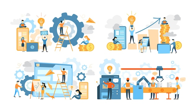 Zakelijke teamwerk set. verzameling van mensen werken in team, vind een oplossing. werknemer maakt presentatie en bouw strategie. searchinf voor sollicitant. vector platte illustratie
