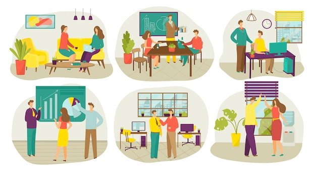Zakelijke teamwerkvergadering, teamwerk in kantoor brainstormen en planning, set van illustraties. zakenlieden werken in kantoor, strategie discussie, communicatie. werknemers met laptop.