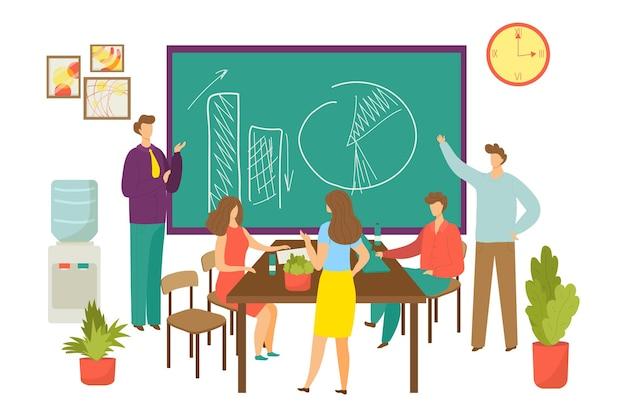 Zakelijke teamwerkvergadering, vectorillustratie. man vrouw karakter, manager team in plat kantoorwerk voor professioneel bedrijf. projectstrategie bij blackboard, mensen zitten aan tafel, praten.