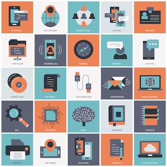 Zakelijke technologie en management instellen illustratie