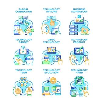 Zakelijke technologie instellen pictogrammen vectorillustraties. technologie-evolutie en product, wereldwijde verbinding en video, technologische robothand en innovatieve gadgetkleurenillustraties