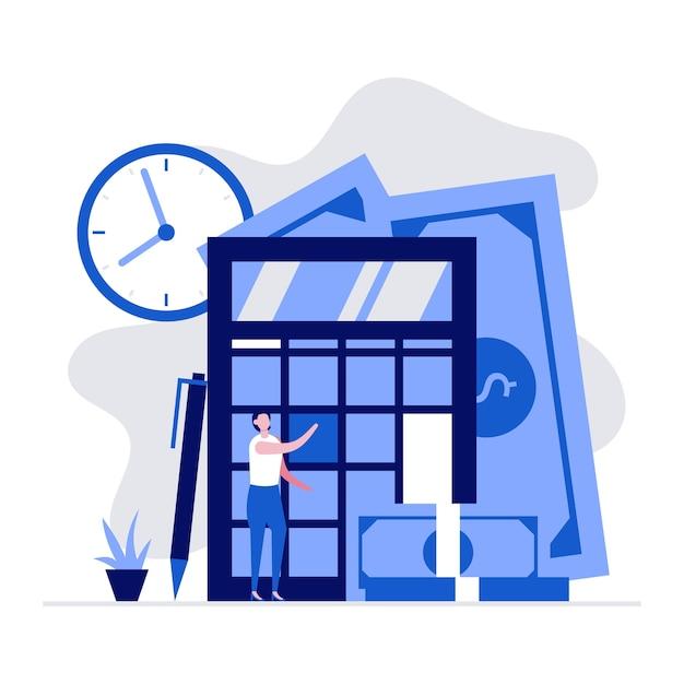 Zakelijke tellen en financiële berekening concept met karakters en een grote rekenmachine. accountant maakt financieel verslag.