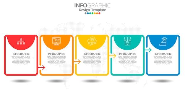 Zakelijke tijdlijn infographic elementen met 5 opties of stappen.