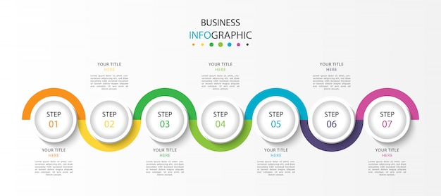 Zakelijke tijdlijn infographic met 7 stappen of opties