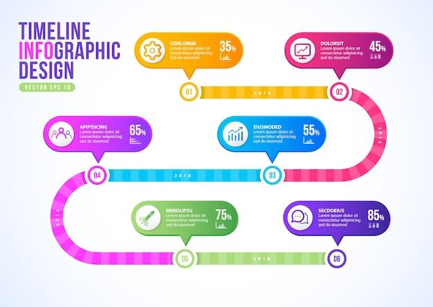 Zakelijke tijdlijn infographic presentatiesjabloon.