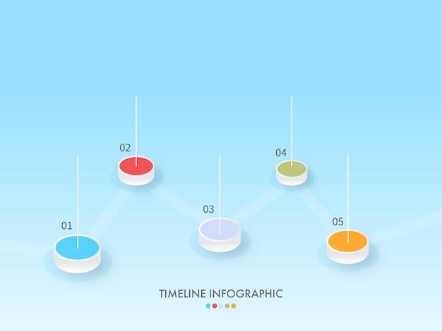 Zakelijke tijdlijn infographic sjabloonlay-out met vijf opties op blauwe achtergrond.