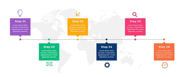 Zakelijke tijdlijn infographic sjabloonontwerp zes stappen