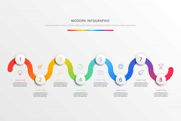 Zakelijke tijdlijn workflow infographics met realistische 3d ronde elementen en platte lijn marketing pictogrammen