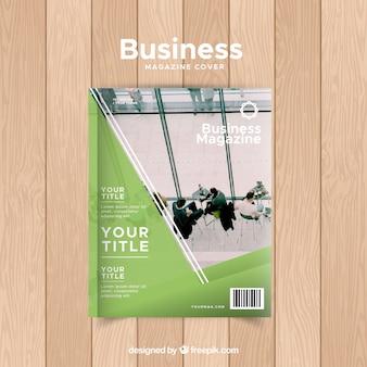 Zakelijke tijdschrift voorbladsjabloon met foto