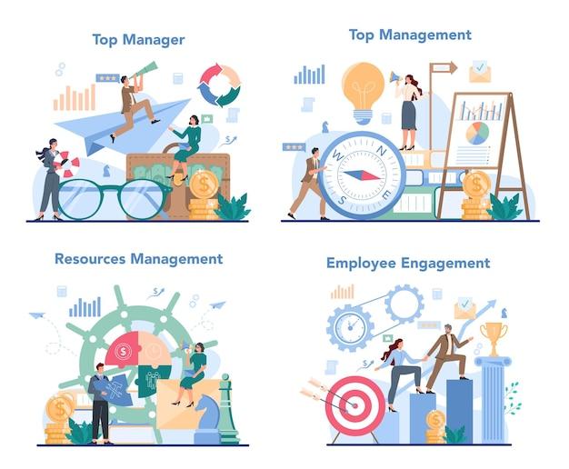 Zakelijke topmanagement concept set