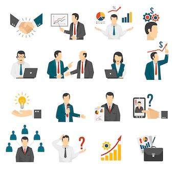 Zakelijke training consulting service icons set.