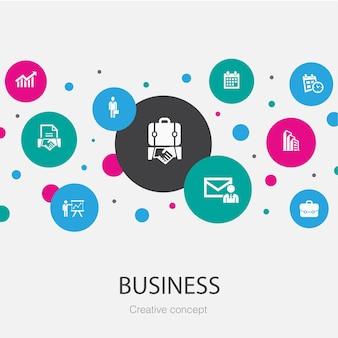 Zakelijke trendy cirkel sjabloon met eenvoudige pictogrammen. bevat elementen zoals zakenman, aktetas, kalender, grafiek