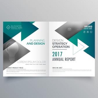 Zakelijke tweevoudig brochure ontwerp gemaakt met driehoek blauwe vormen
