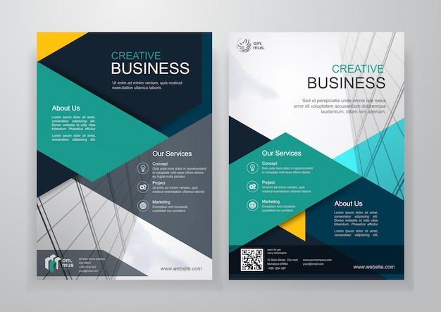 Zakelijke tweevoudige brochure of flyer