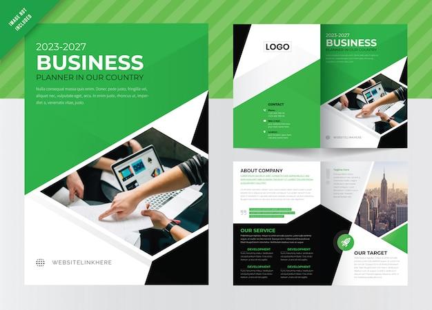 Zakelijke tweevoudige brochure sjabloonontwerp