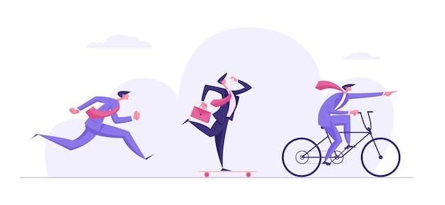 Zakelijke uitdaging competitie concept met mensen tekens illustratie Premium Vector