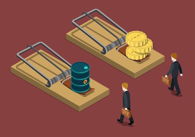 Zakelijke val olieprijs 3 daling investeringscrisis probleem probleem concept