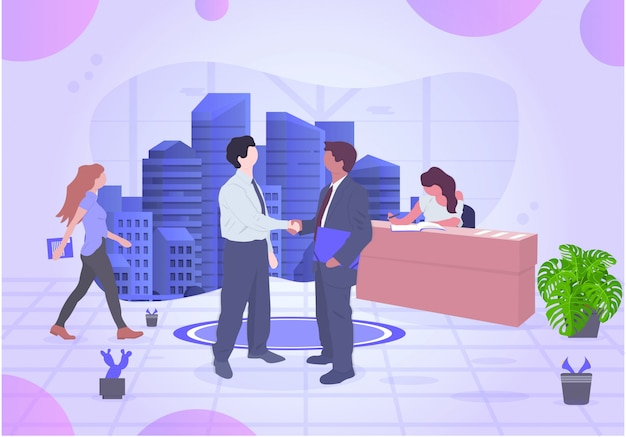 Zakelijke vector coöperatieve kantoor illustratie