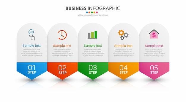 Zakelijke vector infographic ontwerpsjabloon met 5 opties