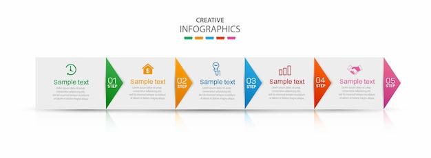 Zakelijke vector infographic ontwerpsjabloon met 5 stappen