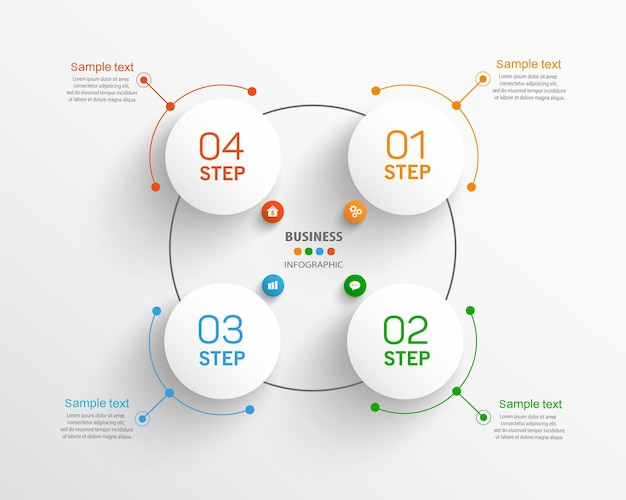 Zakelijke vector infographic sjabloon met 4 stappen