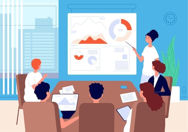 Zakelijke vergadering. vrouw teamleider, financieel analist bij bord met grafieken. kantoorvergadering, briefing vectorillustratie. vrouw leider in kantoor op conferentie, teamwork presentatie