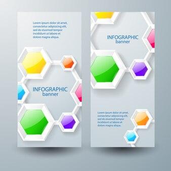 Zakelijke verticale banners met tekst kleurrijke glanzende verbonden zeshoeken