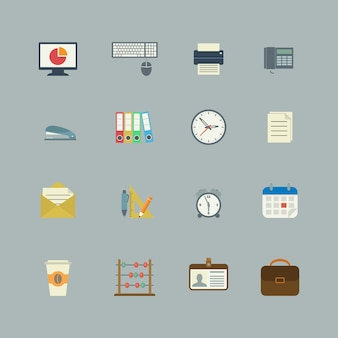 Zakelijke verzameling van platte kantoorbenodigdheden