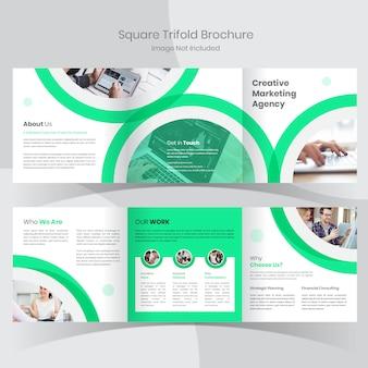 Zakelijke vierkante driebladige brochure sjabloon