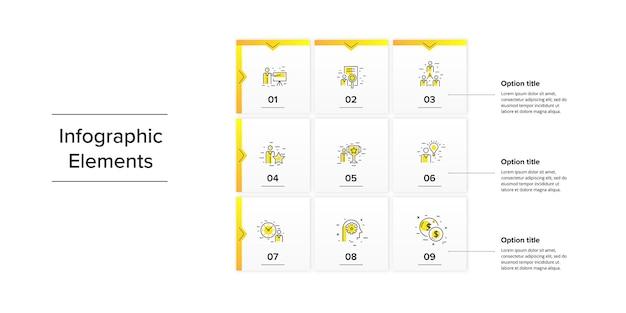 Zakelijke vierkante matrixgrafiekinfographics met rechthoeken in 9 stappen