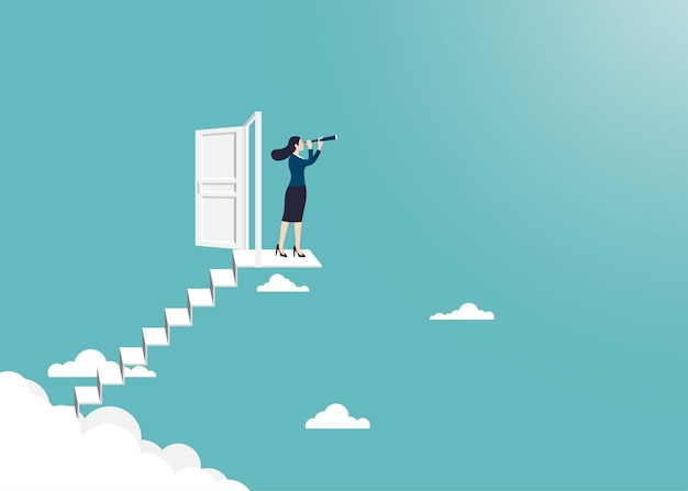 Zakelijke visie en doel zakenvrouw met telescoop staande op de ladder open de deur ga naar succes in carrière concept zakelijke prestatie karakter leider vector plat