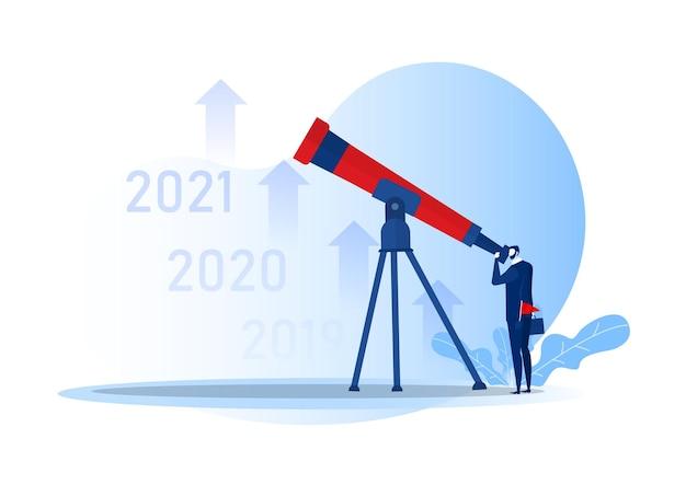 Zakelijke visie met verrekijker voor kansen in kijker op jaarbasis