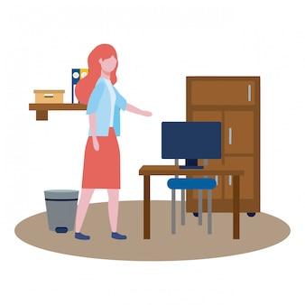 Zakelijke vrouw avatar van cartoon