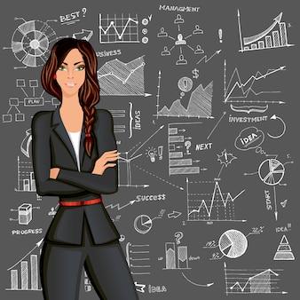 Zakelijke vrouw doodle achtergrond