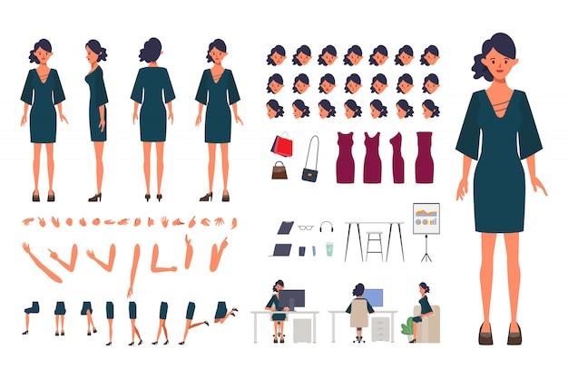 Zakelijke vrouw karakter creatie voor animatie. klaar voor geanimeerde gezichtsemoties en mond kantoormeubilair apparatuur en gereedschappen.