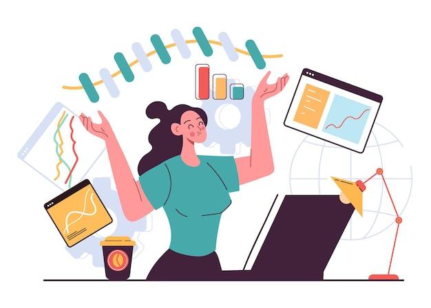 Zakelijke vrouw karakter kantoorpersoneel maken infographic diagram grafiek idee project