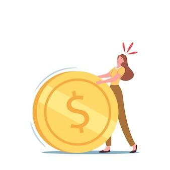 Zakelijke vrouw karakter rollen enorme zware gouden munt. hypotheek, belastingbetaling, bankkredietlening of schuldconcept. financiële crisis en geldlast problemen metafoor. cartoon vectorillustratie